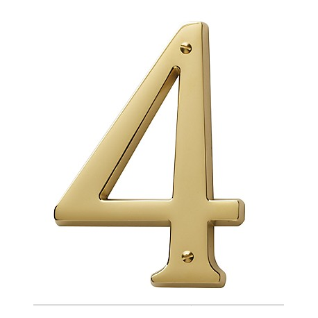 Non-Lacquered Brass House Number 4
