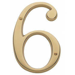 Non-Lacquered Brass House Number 6