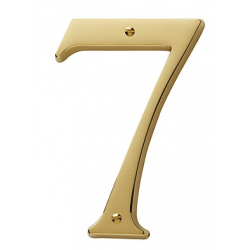 Non-Lacquered Brass House Number 7