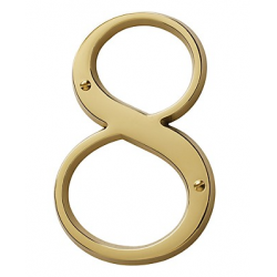 Non-Lacquered Brass House Number 8