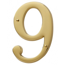 Non-Lacquered Brass House Number 9