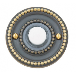 Satin Brass and Black Beaded Bell Button