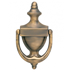 Satin Brass and Black Colonial Door Knocker