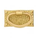 Hammered Oval Pull in Satin Brass