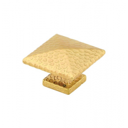 Large Square Hammered Knob in Satin Brass 263-41
