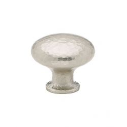 Large Round Hammered Knob in Satin Nickel