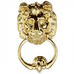 Lion's Head Door Knocker in Polished Brass