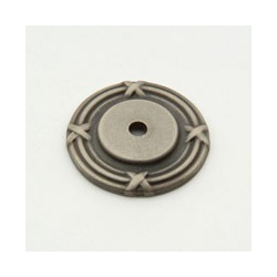 Weathered Antique Nickel Ribbon Back Plate 1.5""