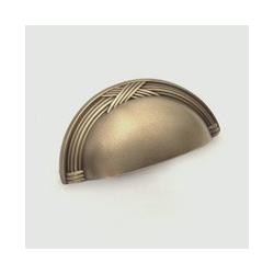 Weathered Brass Ribbon Cup Pull