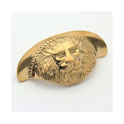 Polished Brass Lion Cup Pull