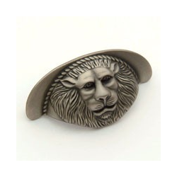 Weathered Antique Nickel Lion Cup Pull