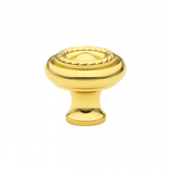 Polished Brass Roped Knob 1""