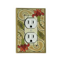 Red Flower Outlet Switch Plate