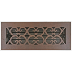 "Bronze 3X10"" Scroll Floor Vent"