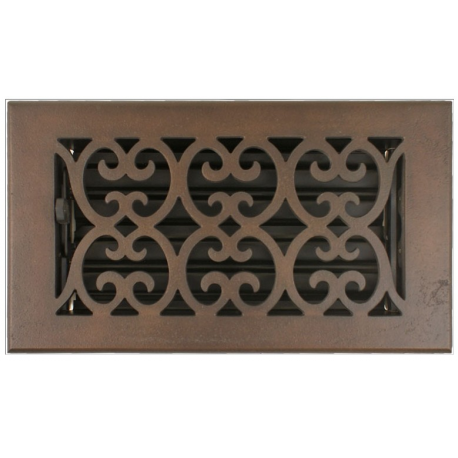 "Bronze 4X8"" Scroll Floor Vent"