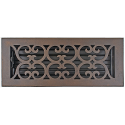 "Bronze 4X12"" Scroll Floor Vent"