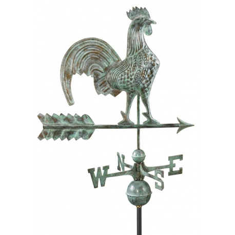 Rooster Weathervane, Blue Verdi 25""