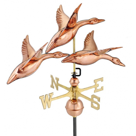 Geese in Flight Weathervane, Polished Copper