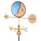 Stained Glass Moon Weathervane, Polished Copper