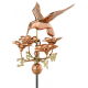 Hummingbird with Flowers Weathervane, Polished Copper