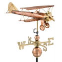 Biplane Weathervane, Polished Copper