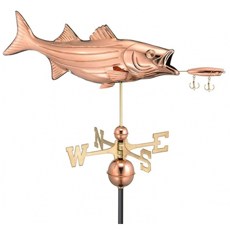 Bass with Lure Weathervane, Polished Copper