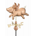 Flying Pig Weathervane, Polished Copper