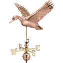 Flying Duck Weathervane, Polished Copper