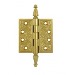 "Ornate Polished Brass Hinge 3.5""X 3.5"""