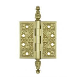 "Ornate Lacquered  Brass Hinge 3.5""X 3.5"""