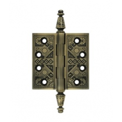 "Ornate Antique Brass Hinge 3.5""X 3.5"""
