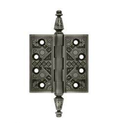 "Ornate Antique Nickel Hinge 3.5""X 3.5"""