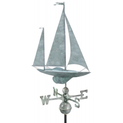 Yawl Sailboat  Weathervane, Blue Verdi