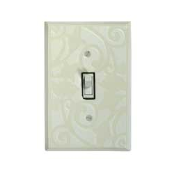 White Design Single Toggle Switch Plate