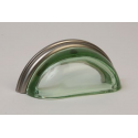 Glass Bin Pull / Green & Satin Nickel