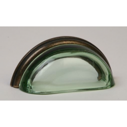 Glass Bin Pull / Green & Oil Rubbed Bronze