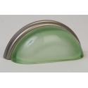 Glass Bin Pull / Frosted Green Glass-Satin Nickel