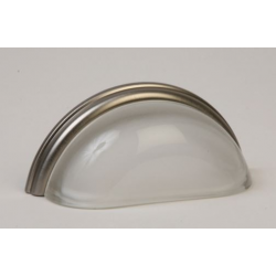 Glass Bin Pull/Frosted Glass Satin Nickel
