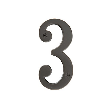 "Brass 4"" House Number ""3"""