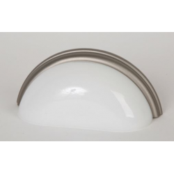 Glass Bin Pull/ White with Satin Nickel