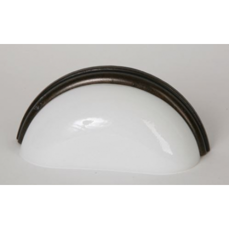 Glass Bin Pull/ White with Oil Rubbed Bronze