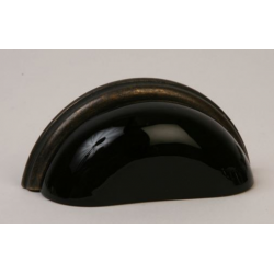 Glass Bin Pull / Black with Oil Rubbed Bronze