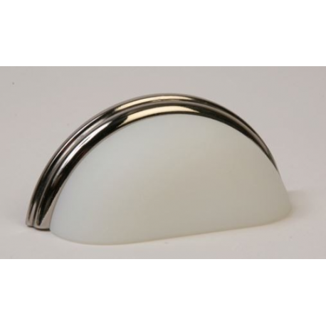 Glass Bin Pull / Frosted White/ Polished Nickel