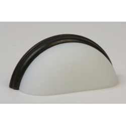 Glass Bin Pull / Frosted White/ Oil Rubbed Bronze