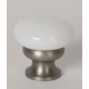 Glass Knob/ Milk Glass / Satin Nickel
