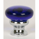 Glass Knob / Blue / Polished Chrome