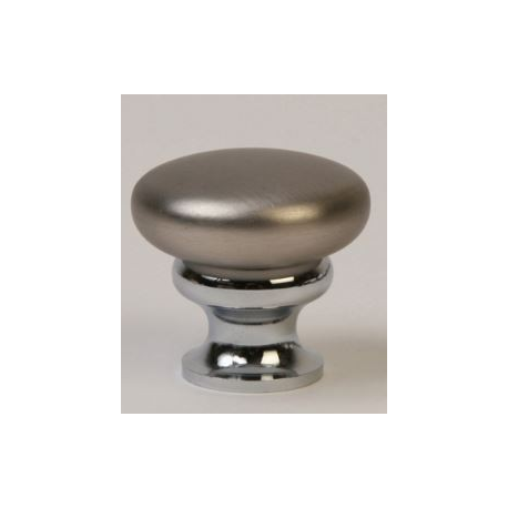 Satin Nickel Knob w/ Polished Chrome Stem