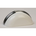 White Metal & Polished Chrome Cup Pull