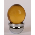 Acorn Glass Knob/ Amber & Chrome