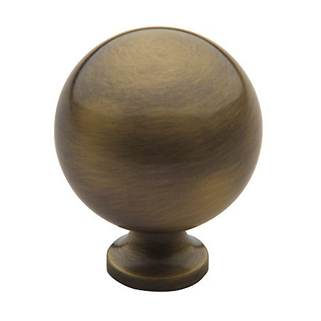 Satin Brass and Black Classic Spherical Knob